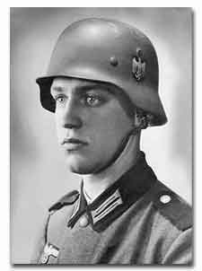 "This photo of ""half-Jew"" Werner Goldberg, who was blond and blue-eyed, was used by a Nazi propaganda newspaper for its title page. Its caption: ""The Ideal German Soldier."""